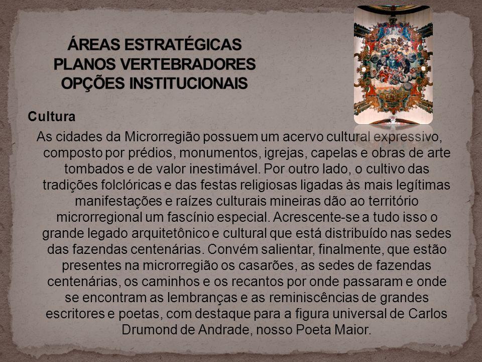 Cultura As cidades da Microrregião possuem um acervo cultural expressivo, composto por prédios, monumentos, igrejas, capelas e obras de arte tombados