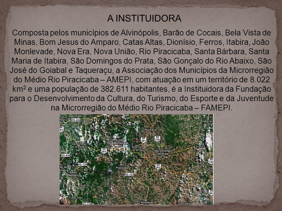 A INSTITUIDORA Composta pelos municípios de Alvinópolis, Barão de Cocais, Bela Vista de Minas, Bom Jesus do Amparo, Catas Altas, Dionísio, Ferros, Ita