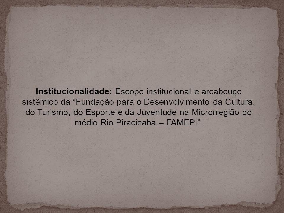 Institucionalidade: Escopo institucional e arcabouço sistêmico da Fundação para o Desenvolvimento da Cultura, do Turismo, do Esporte e da Juventude na