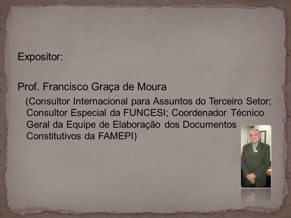 Expositor: Prof. Francisco Graça de Moura (Consultor Internacional para Assuntos do Terceiro Setor; Consultor Especial da FUNCESI; Coordenador Técnico