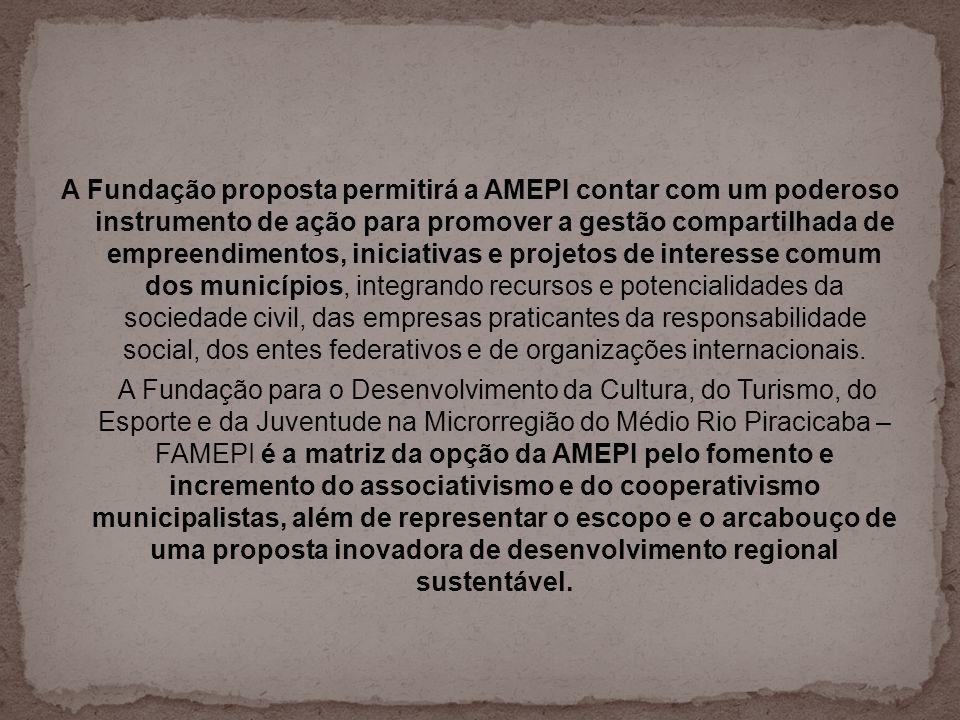 A Fundação proposta permitirá a AMEPI contar com um poderoso instrumento de ação para promover a gestão compartilhada de empreendimentos, iniciativas