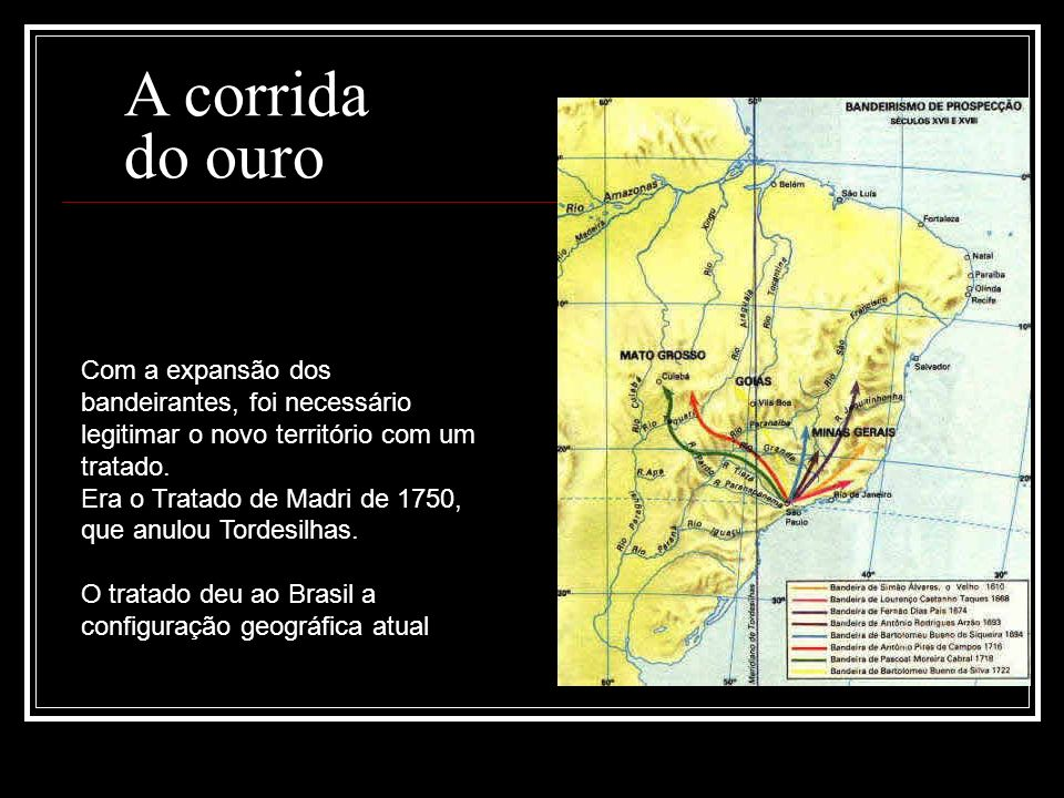 Com a expansão dos bandeirantes, foi necessário legitimar o novo território com um tratado. Era o Tratado de Madri de 1750, que anulou Tordesilhas. O