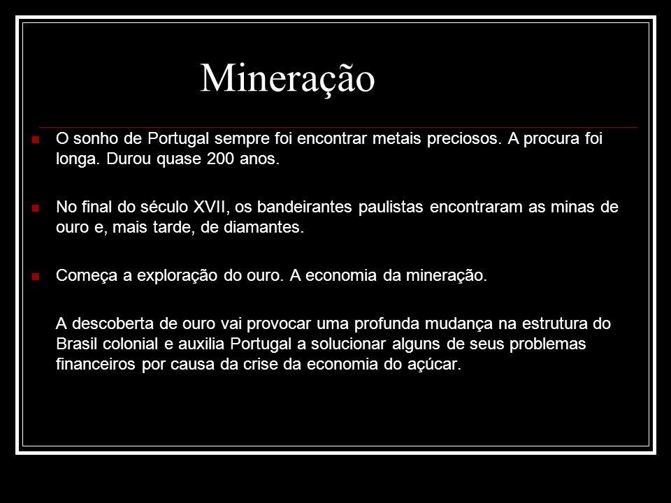 O sonho de Portugal sempre foi encontrar metais preciosos. A procura foi longa. Durou quase 200 anos. No final do século XVII, os bandeirantes paulist