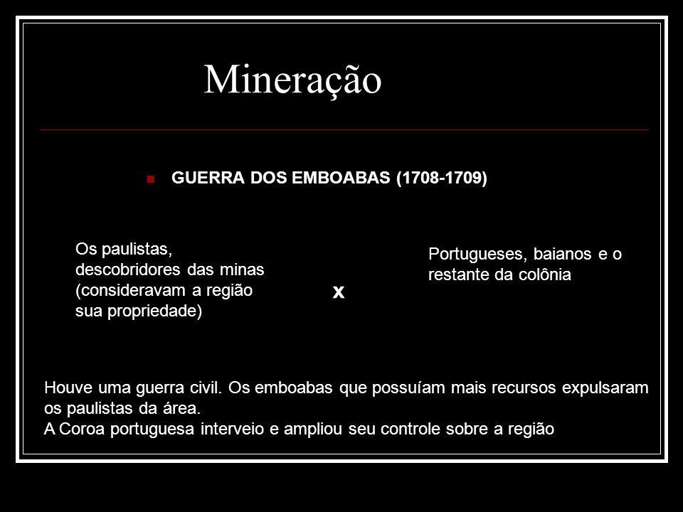 Os paulistas, descobridores das minas (consideravam a região sua propriedade) Mineração Portugueses, baianos e o restante da colônia GUERRA DOS EMBOAB