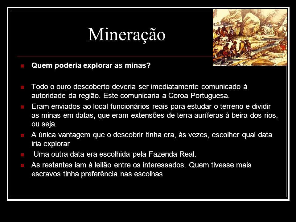 Quem poderia explorar as minas? Todo o ouro descoberto deveria ser imediatamente comunicado à autoridade da região. Este comunicaria a Coroa Portugues