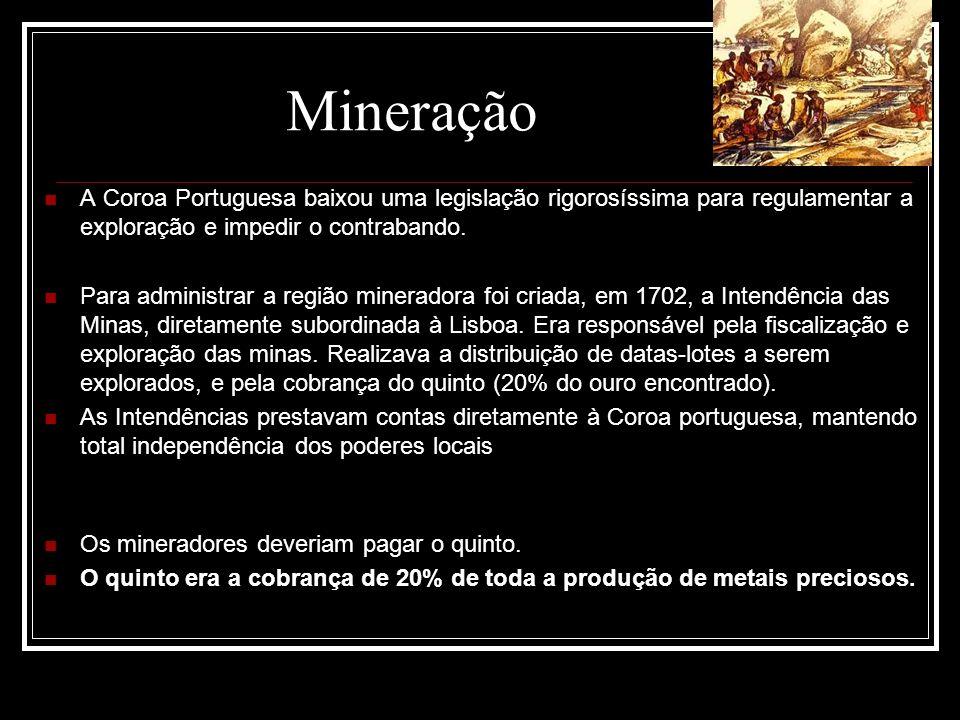 A Coroa Portuguesa baixou uma legislação rigorosíssima para regulamentar a exploração e impedir o contrabando. Para administrar a região mineradora fo