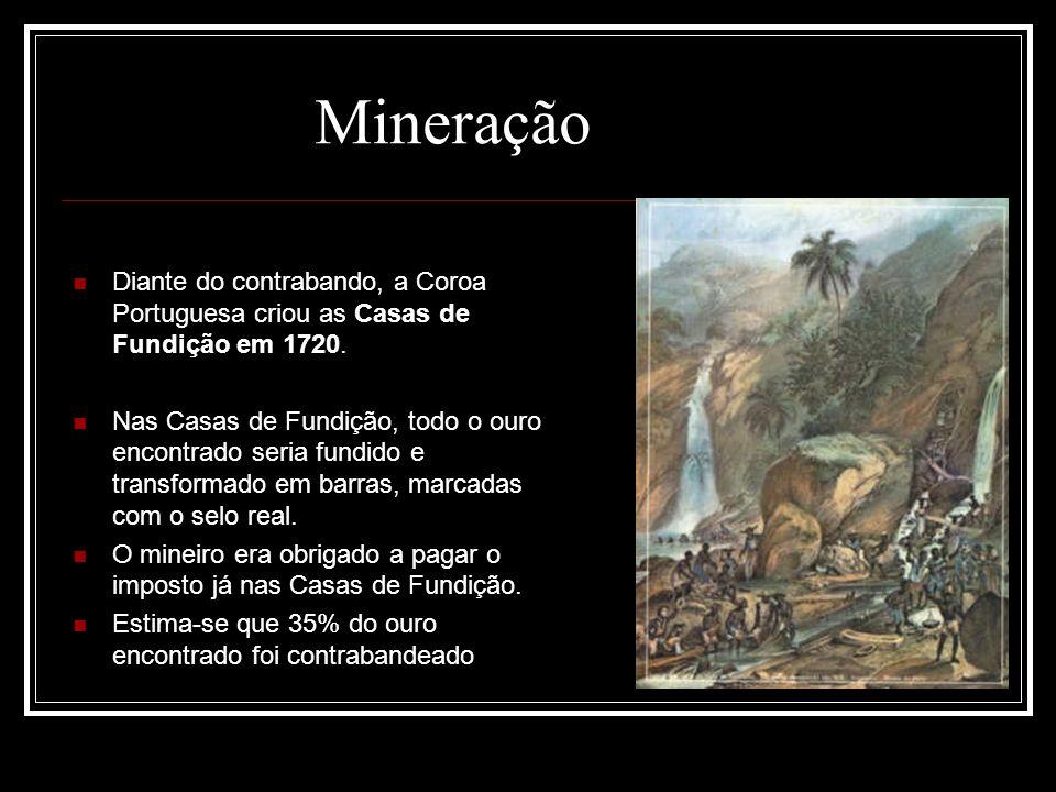 Diante do contrabando, a Coroa Portuguesa criou as Casas de Fundição em 1720. Nas Casas de Fundição, todo o ouro encontrado seria fundido e transforma