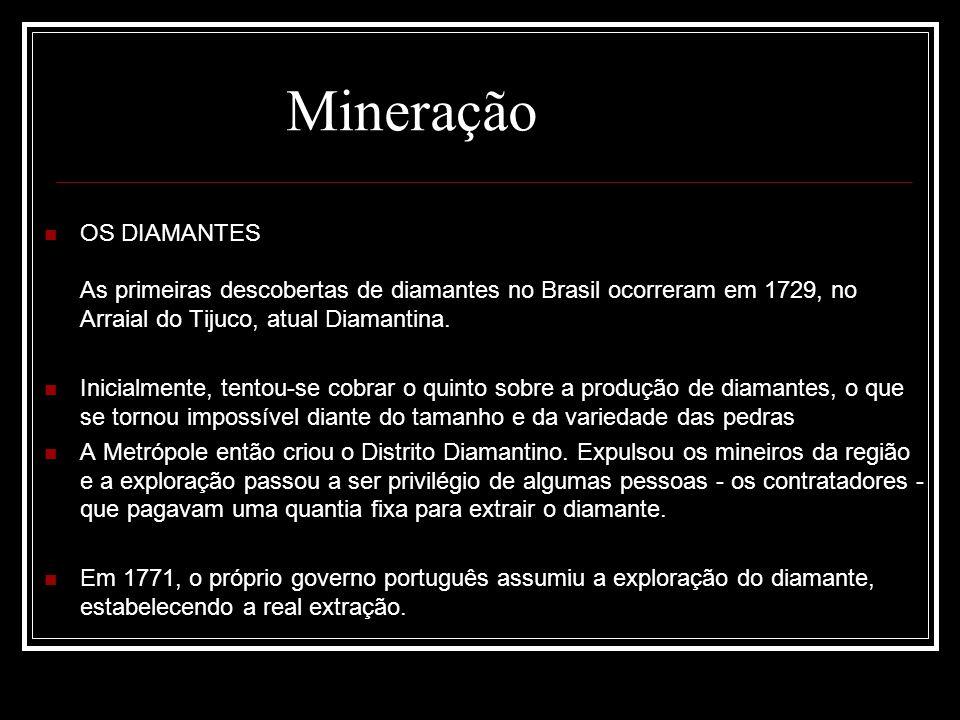 OS DIAMANTES As primeiras descobertas de diamantes no Brasil ocorreram em 1729, no Arraial do Tijuco, atual Diamantina. Inicialmente, tentou-se cobrar