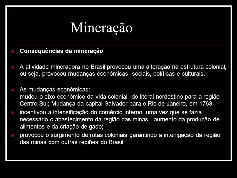 Consequências da mineração A atividade mineradora no Brasil provocou uma alteração na estrutura colonial, ou seja, provocou mudanças econômicas, socia