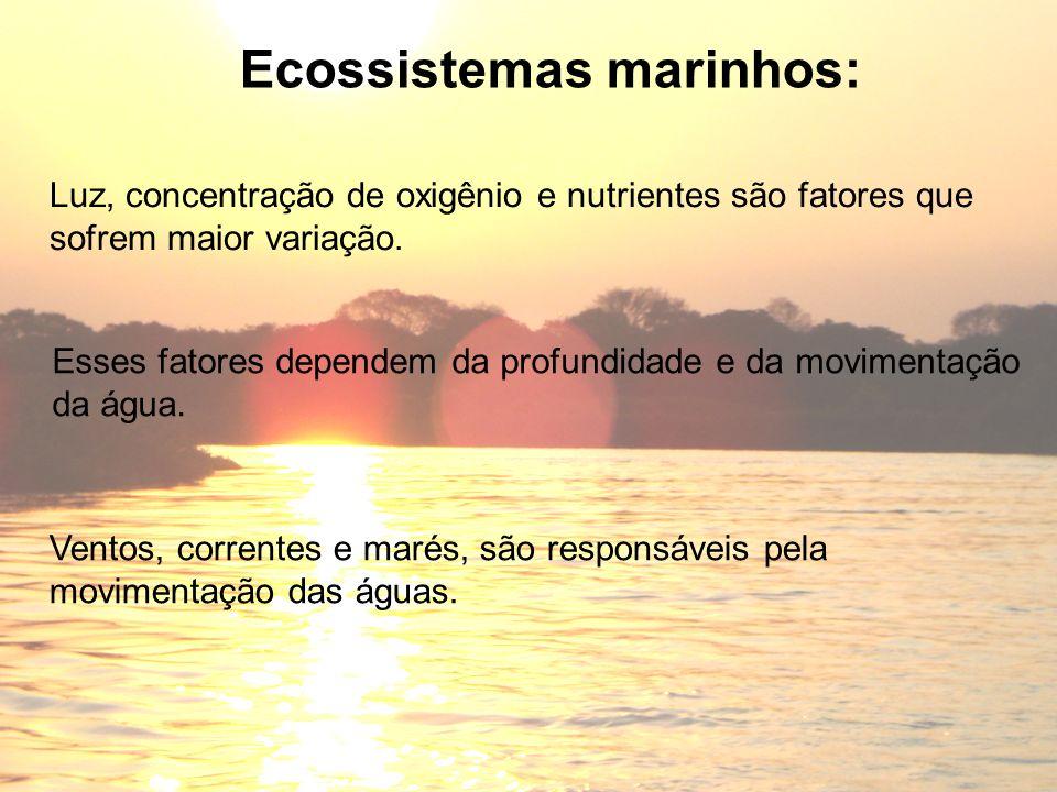Ecossistemas marinhos: Luz, concentração de oxigênio e nutrientes são fatores que sofrem maior variação. Esses fatores dependem da profundidade e da m
