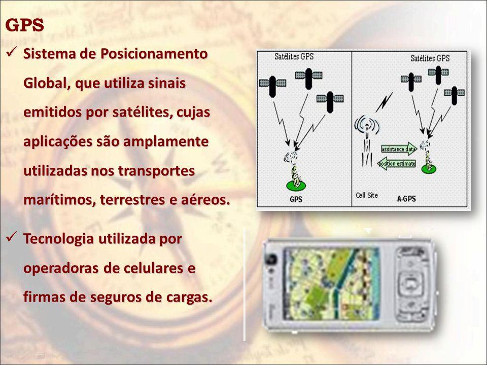 GPS Sistema de Posicionamento Global, que utiliza sinais emitidos por satélites, cujas aplicações são amplamente utilizadas nos transportes marítimos,