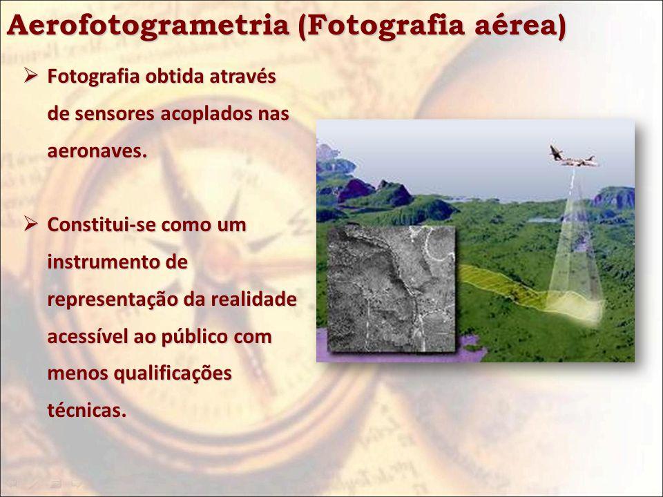 Aerofotogrametria (Fotografia aérea) Fotografia obtida através de sensores acoplados nas aeronaves. Fotografia obtida através de sensores acoplados na