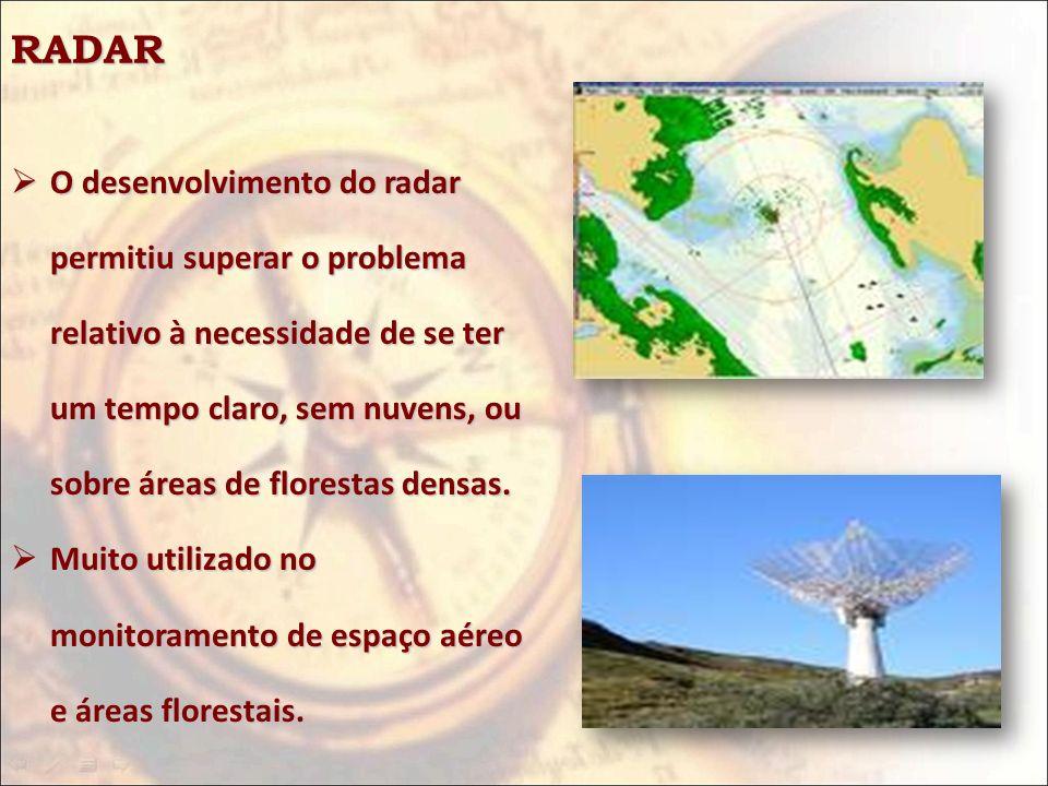 RADAR O desenvolvimento do radar permitiu superar o problema relativo à necessidade de se ter um tempo claro, sem nuvens, ou sobre áreas de florestas