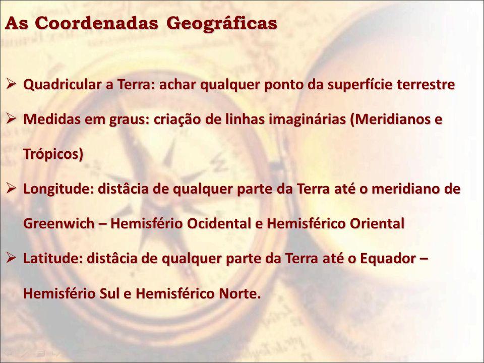 As Coordenadas Geográficas Quadricular a Terra: achar qualquer ponto da superfície terrestre Quadricular a Terra: achar qualquer ponto da superfície t