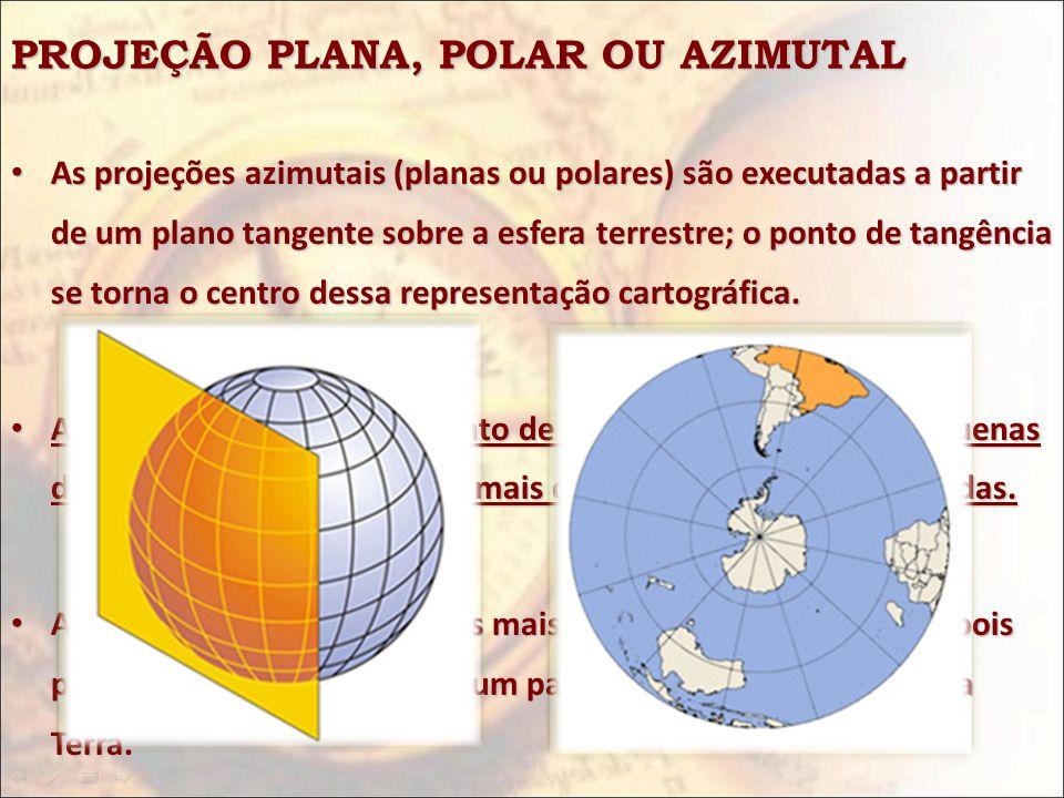 PROJEÇÃO PLANA, POLAR OU AZIMUTAL As projeções azimutais (planas ou polares) são executadas a partir de um plano tangente sobre a esfera terrestre; o