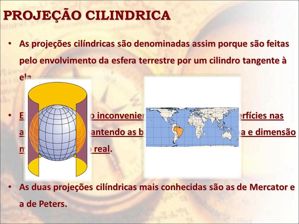 PROJEÇÃO CILINDRICA As projeções cilíndricas são denominadas assim porque são feitas pelo envolvimento da esfera terrestre por um cilindro tangente à