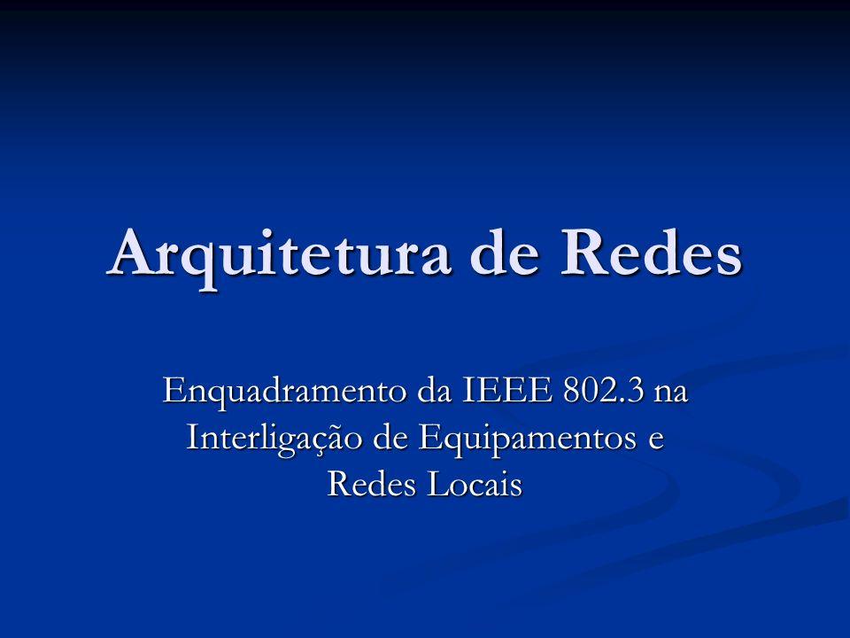 Arquitetura de Redes Enquadramento da IEEE 802.3 na Interligação de Equipamentos e Redes Locais