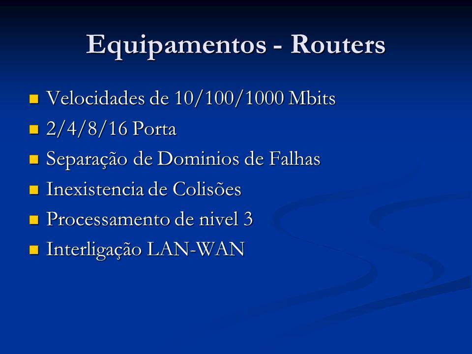 Equipamentos - Routers Velocidades de 10/100/1000 Mbits Velocidades de 10/100/1000 Mbits 2/4/8/16 Porta 2/4/8/16 Porta Separação de Dominios de Falhas