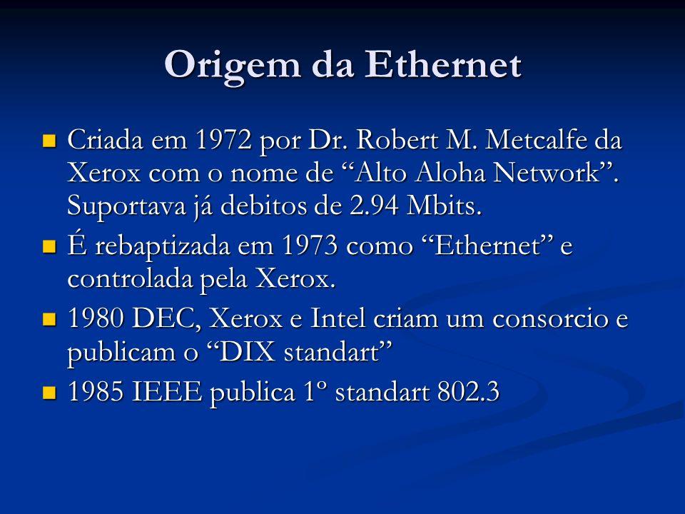 Origem da Ethernet Criada em 1972 por Dr. Robert M. Metcalfe da Xerox com o nome de Alto Aloha Network. Suportava já debitos de 2.94 Mbits. Criada em