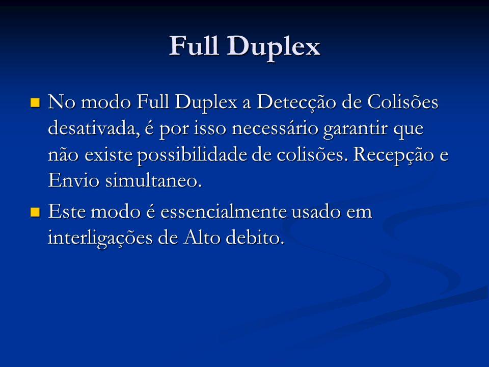 Full Duplex No modo Full Duplex a Detecção de Colisões desativada, é por isso necessário garantir que não existe possibilidade de colisões. Recepção e