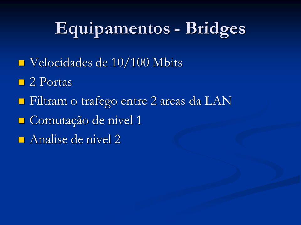 Equipamentos - Bridges Velocidades de 10/100 Mbits Velocidades de 10/100 Mbits 2 Portas 2 Portas Filtram o trafego entre 2 areas da LAN Filtram o traf