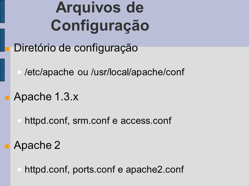 Arquivos de Configuração Diretório de configuração /etc/apache ou /usr/local/apache/conf Apache 1.3.x httpd.conf, srm.conf e access.conf Apache 2 httpd.conf, ports.conf e apache2.conf