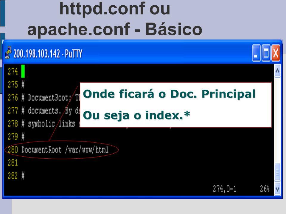 httpd.conf ou apache.conf - Básico Onde ficará o Doc. Principal Ou seja o index.*