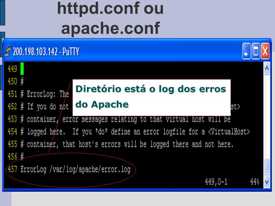 httpd.conf ou apache.conf Diretório está o log dos erros do Apache