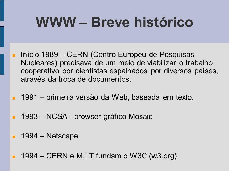 WWW – Breve histórico Início 1989 – CERN (Centro Europeu de Pesquisas Nucleares) precisava de um meio de viabilizar o trabalho cooperativo por cientistas espalhados por diversos países, através da troca de documentos.