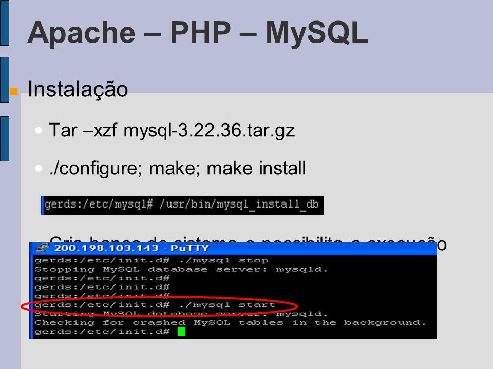 Apache – PHP – MySQL Instalação Tar –xzf mysql-3.22.36.tar.gz./configure; make; make install Cria banco do sistema e possibilita a execução