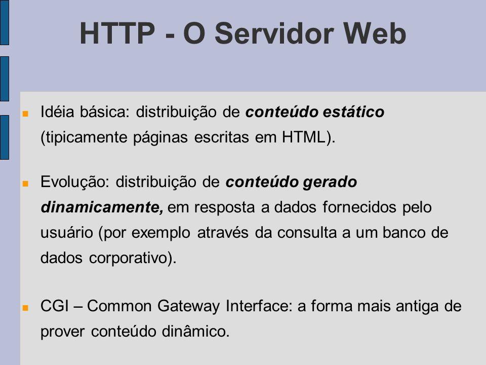 Idéia básica: distribuição de conteúdo estático (tipicamente páginas escritas em HTML). Evolução: distribuição de conteúdo gerado dinamicamente, em re