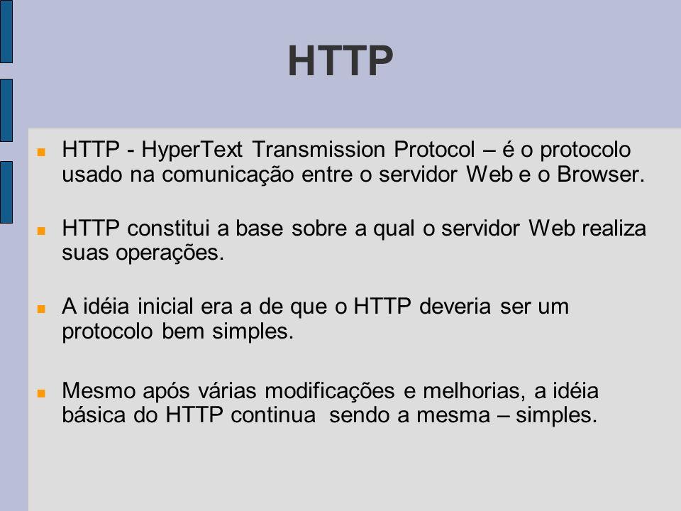 HTTP HTTP - HyperText Transmission Protocol – é o protocolo usado na comunicação entre o servidor Web e o Browser. HTTP constitui a base sobre a qual