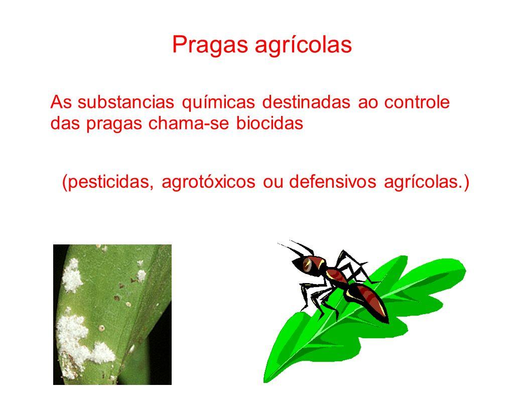 Pragas agrícolas As substancias químicas destinadas ao controle das pragas chama-se biocidas (pesticidas, agrotóxicos ou defensivos agrícolas.)