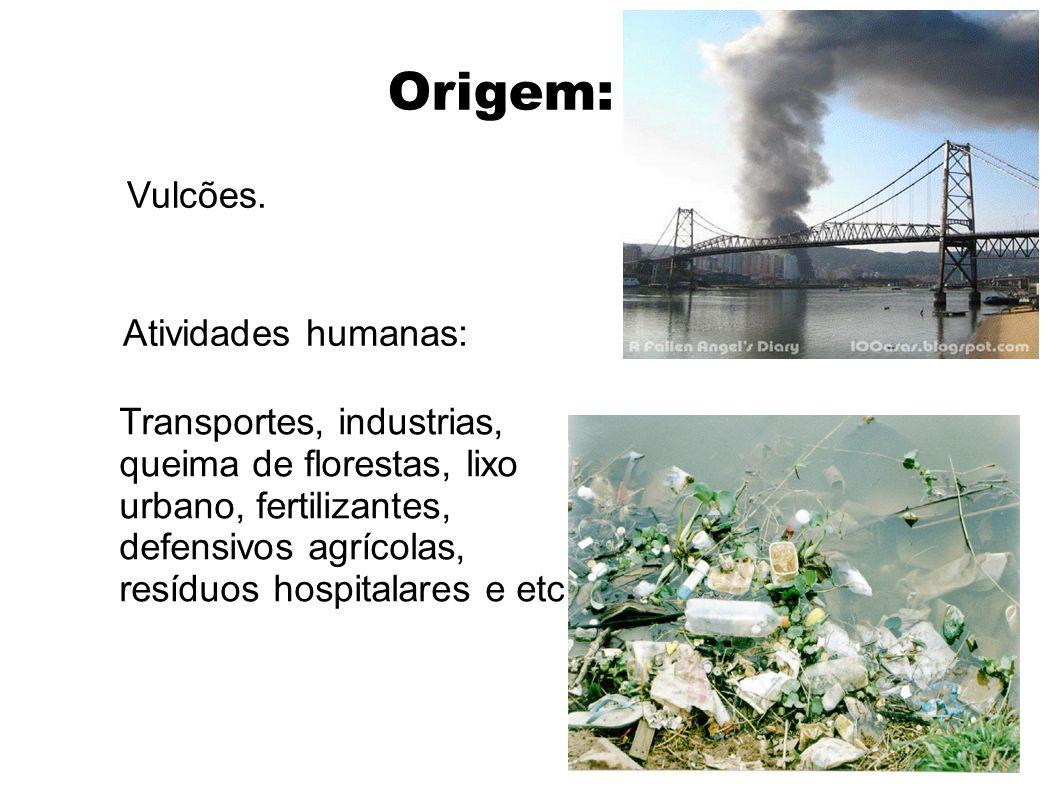 Origem: Vulcões. Atividades humanas: Transportes, industrias, queima de florestas, lixo urbano, fertilizantes, defensivos agrícolas, resíduos hospital