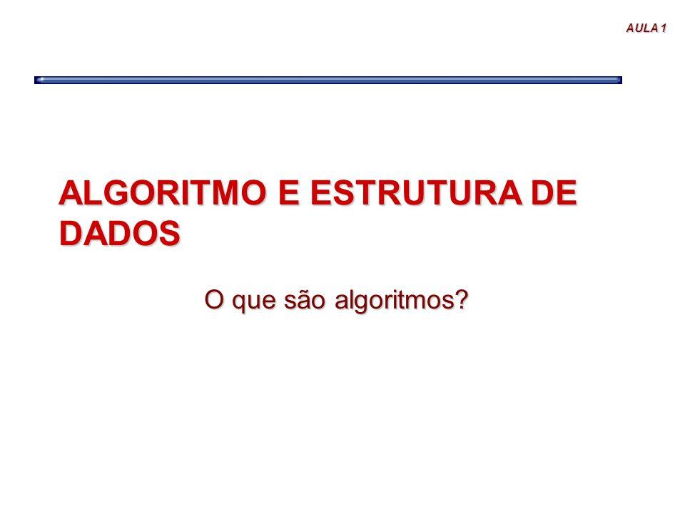 AULA 1 ALGORITMO E ESTRUTURA DE DADOS O que são algoritmos?