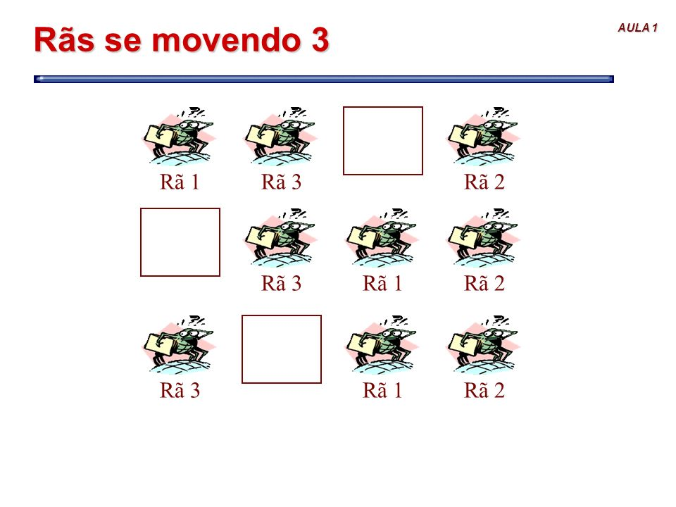 AULA 1 Rãs se movendo 3 Rã 1Rã 2Rã 3Rã 1Rã 2Rã 3Rã 1Rã 2Rã 3