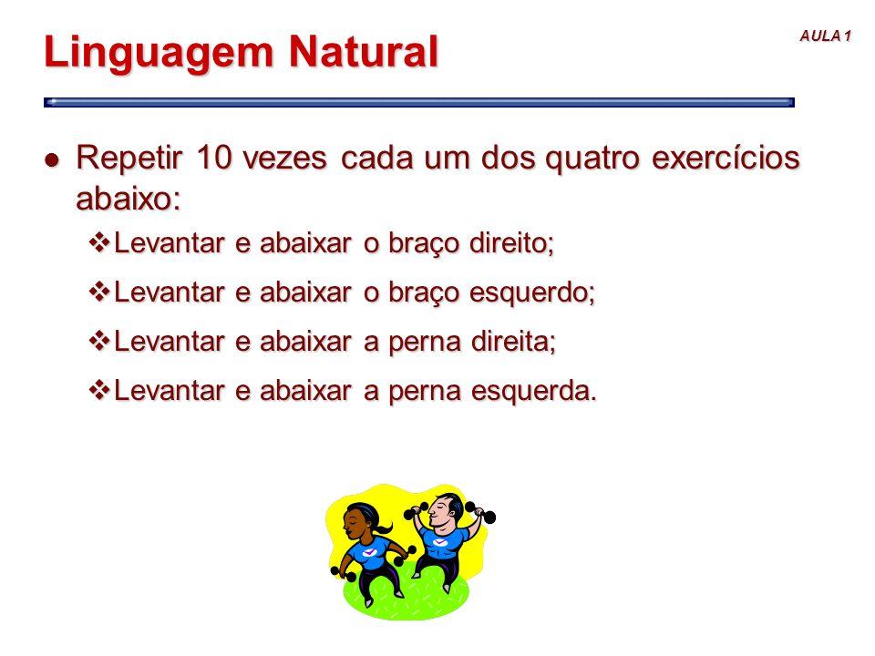 AULA 1 Linguagem Natural l Repetir 10 vezes cada um dos quatro exercícios abaixo: vLevantar e abaixar o braço direito; vLevantar e abaixar o braço esq