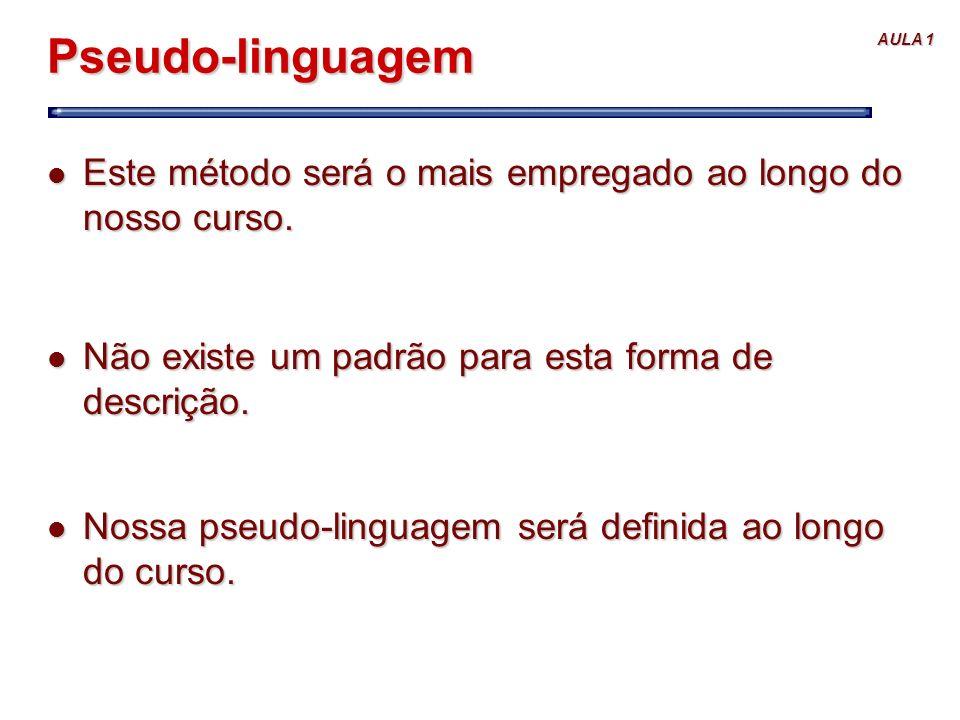 AULA 1 Pseudo-linguagem l Este método será o mais empregado ao longo do nosso curso. l Não existe um padrão para esta forma de descrição. l Nossa pseu