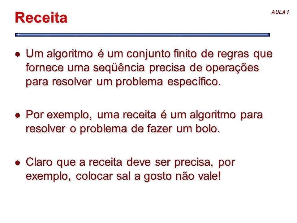 AULA 1 Receita l Um algoritmo é um conjunto finito de regras que fornece uma seqüência precisa de operações para resolver um problema específico. l Po