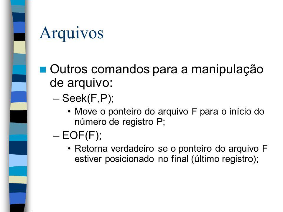 Arquivos Outros comandos para a manipulação de arquivo: –Seek(F,P); Move o ponteiro do arquivo F para o início do número de registro P; –EOF(F); Retor