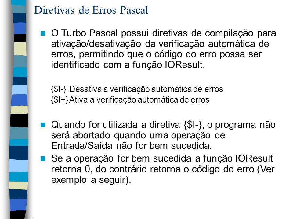 Diretivas de Erros Pascal O Turbo Pascal possui diretivas de compilação para ativação/desativação da verificação automática de erros, permitindo que o