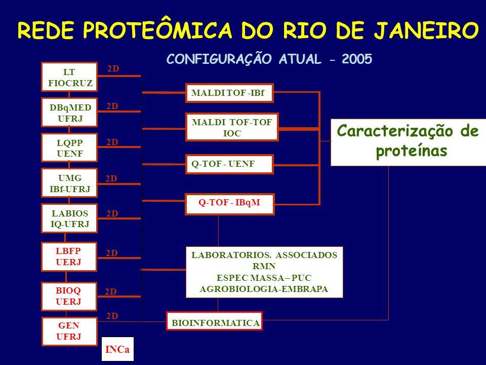 - Caracterização de proteínas BIOINFORMATICA LABIOS IQ-UFRJ UMG IBf-UFRJ LQPP UENF DBqMED UFRJ LT FIOCRUZ 2D - REDE PROTEÔMICA DO RIO DE JANEIRO CONFI