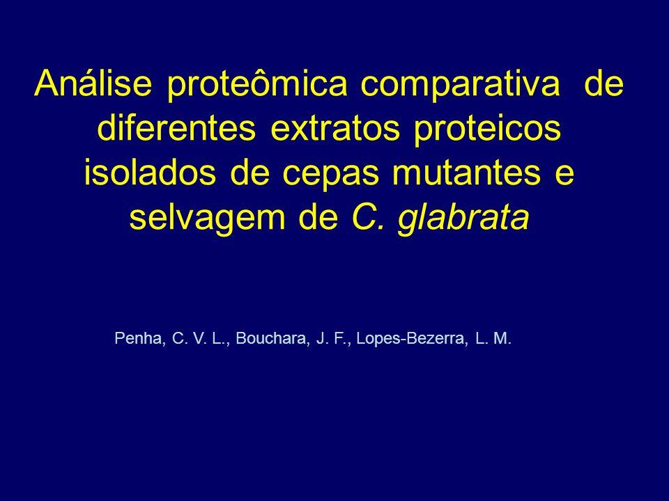 Análise proteômica comparativa de diferentes extratos proteicos isolados de cepas mutantes e selvagem de C. glabrata Penha, C. V. L., Bouchara, J. F.,