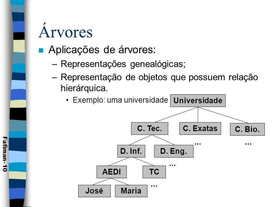 Árvores n Aplicações: –Índices de arquivos; –Árvores genealógicas ou hereditárias; –Organização de empresa (organograma); –Avaliação de expressões; –Árvores de decisão; –Busca em tabelas; –Algoritmos e Classificação Fafiman- 11