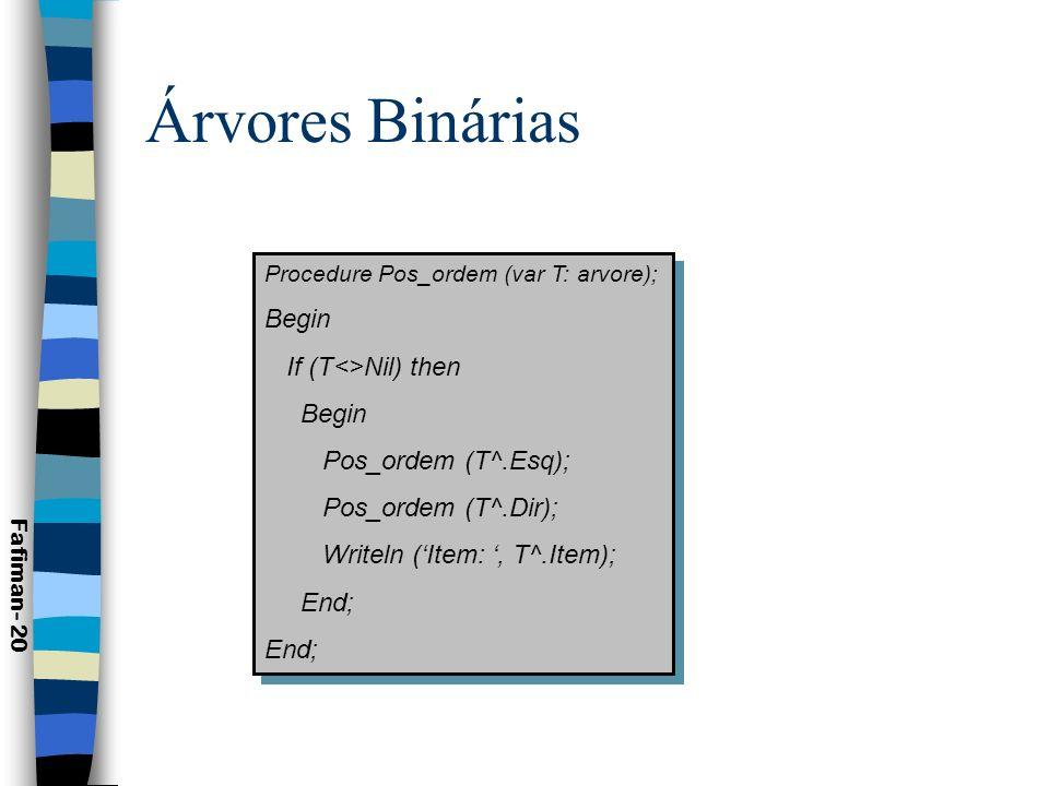 Árvores Binárias de Busca n Árvore Binária de Busca ou Árvore de Pesquisa: –Uma ABB para um subconjunto S é uma árvore binária com rótulos no qual cada vértice v está rotulado com elementos e(v) S |: 1.Para cada vértice na subárvore Esq de v e( ) < e(v); 2.Para cada vértice na subárvore Dir de v e( ) > e(v); 3.Para cada elemento a S, existe exatamente um vértice v|e(a)=v.