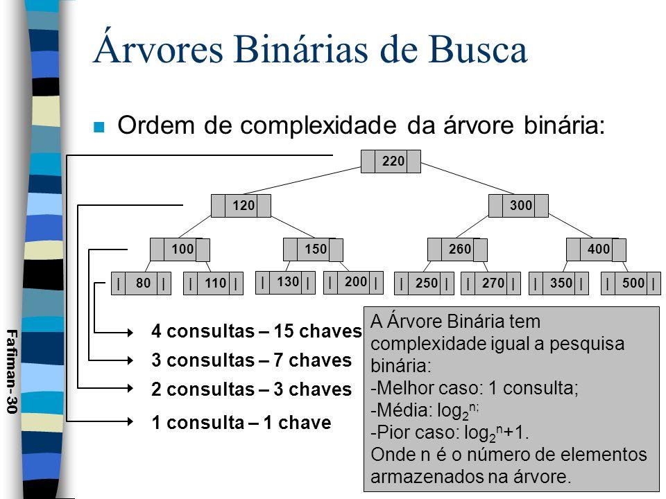 Árvores Binárias de Busca n Balanceamento: –Busca uma distribuição equilibrada dos nós; –Busca otimizar a consulta; –Busca minimizar o número médio de comparações necessário para a localização de uma chave.