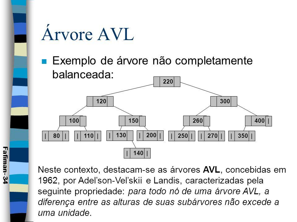 Árvore AVL 110 | | 200 | | 120 | |80 | | 100150 130 150 | | 200 | | 110 | |80 | | 100130 120 Árvore AVLÁrvore não AVL Fafiman- 35 As constantes inserções e remoções de nós de uma árvore podem provocar o desbalanceamento da mesma.