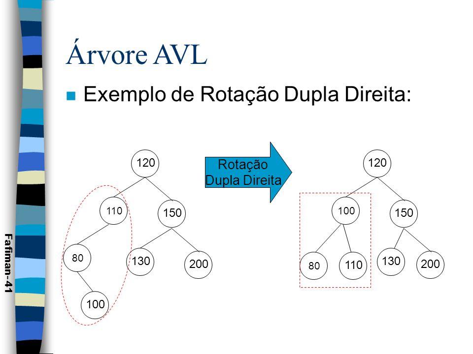 Árvore AVL n Rotação Dupla Esquerda: Fafiman- 42 Rotação Dupla Esquerda - b<y<c - p<y<z - y passa a ser a raiz -h 0 p y a cb hhh z d h ou y z d a c h p b