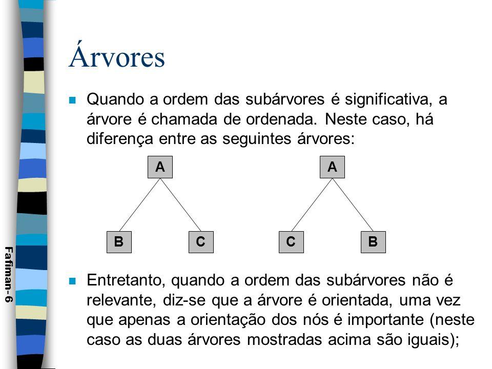 Árvores Fafiman- 7 n A raiz de uma árvore é chamada de pai das raízes de suas subárvores.