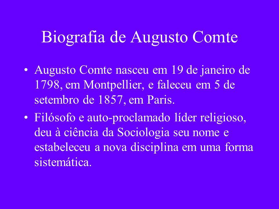Biografia de Augusto Comte Augusto Comte nasceu em 19 de janeiro de 1798, em Montpellier, e faleceu em 5 de setembro de 1857, em Paris. Filósofo e aut